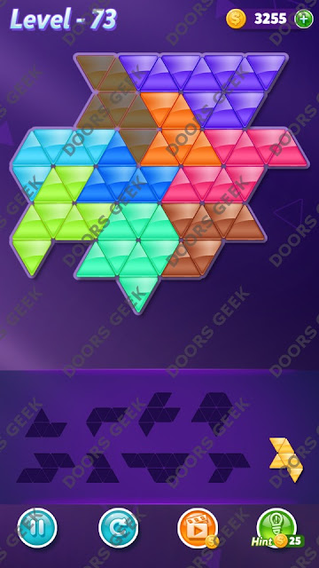 Block! Triangle Puzzle 9 Mania Level 73 Solution, Cheats, Walkthrough for Android, iPhone, iPad and iPod