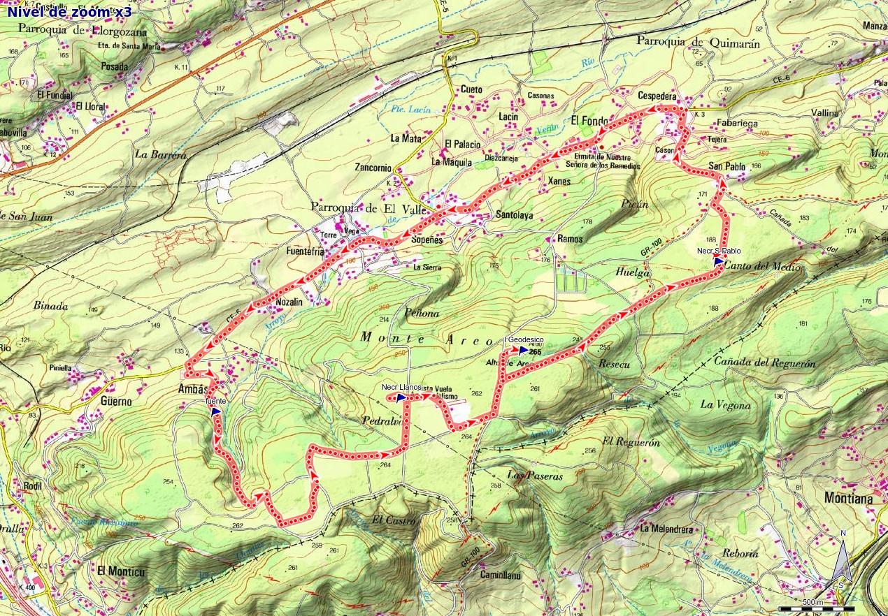 Ruta de los Dólmenes y Monte Areo: Mapa de la ruta