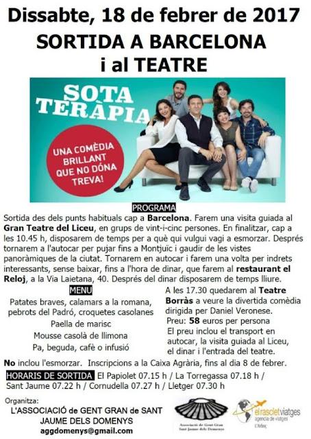 Cartell Sortida a Barcelona per anar a Teatre a veure l'obra