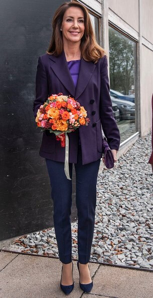 Princess Marie wore Emporio Armani dark purple blazer, Jimmy Choo suede pumps, and she carried Naledi Copenhagen Ostrich clutc