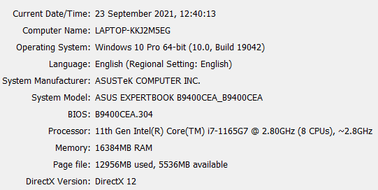 dxdiag expertbook b9400ce