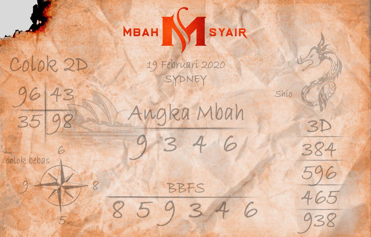 Prediksi Togel JP Sidney 19 Februari 2020 - Mbah Syair