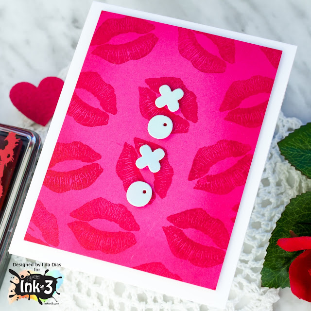 XOXO, Monochromatic, Valentine's Day Cards, Ink On 3, Lips Background, Hugs and Kisses, Card Making, Stamping, Die Cutting, handmade card, ilovedoingallthingscrafty, Stamps, how to, Atelier Inks,
