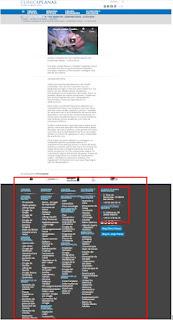página objeto de estudio y sus principales elementos marcados