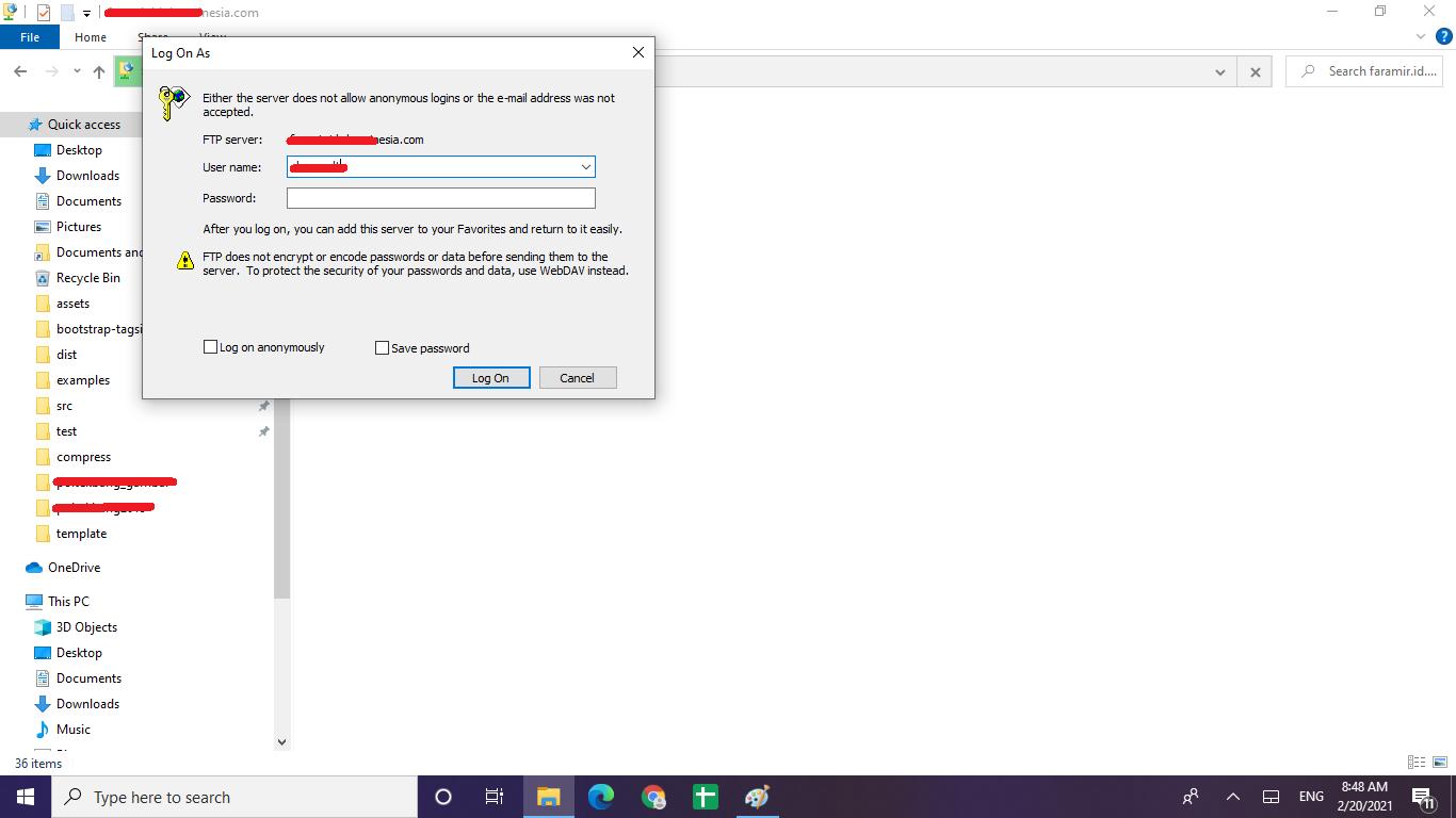 mengelola file hosting dengan windows explorer