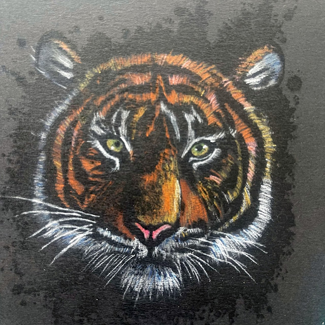 tiger stamp | colouring | pencils | stamp | clear | rubber
