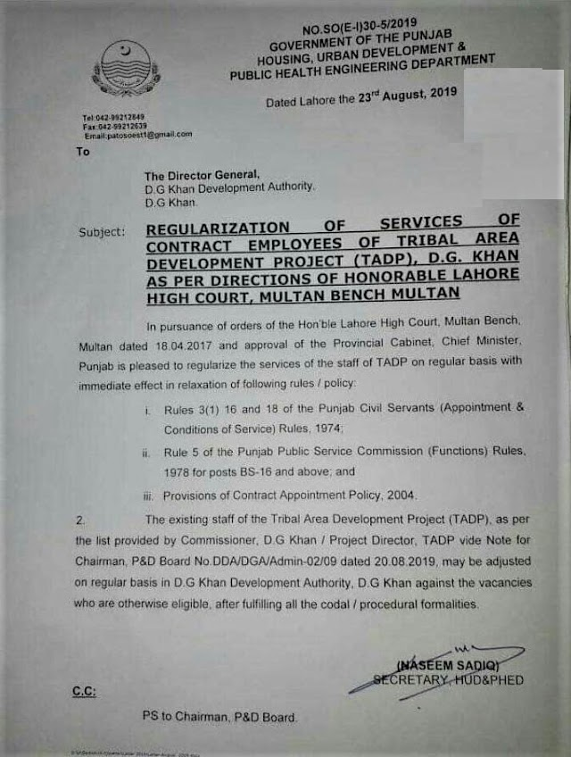 REGULARIZATION OF SERVICES OF CONTRACT EMPLOYEES OF TRIBAL AREA DEVELOPMENT PROJECT