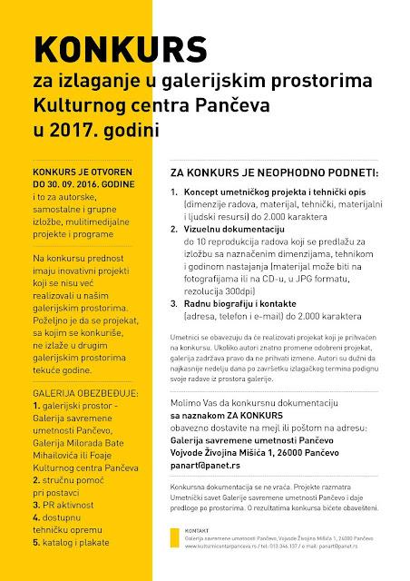 Konkurs za izlaganje u galerijskim prostorima KC Pančeva