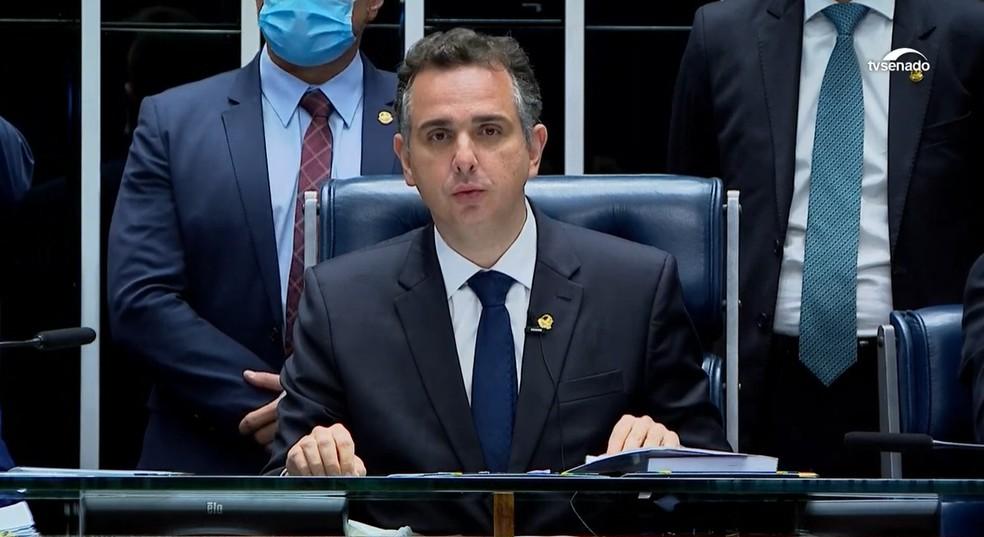 Senador Rodrigo Pacheco (DEM-MG) em primeiro discurso como presidente do Senado — Foto: TV Senado/Reprodução