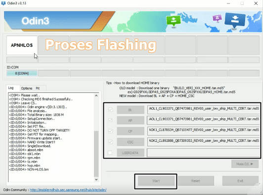 Menambahkan file binary Samsung A70