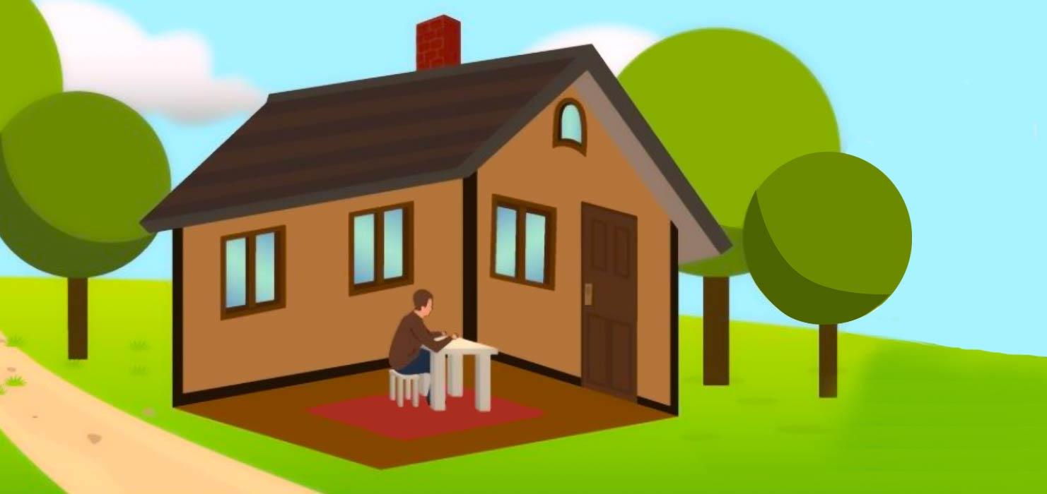 Test: ¿En qué lugar está sentado el hombre? ¿Dentro o fuera de la casa?