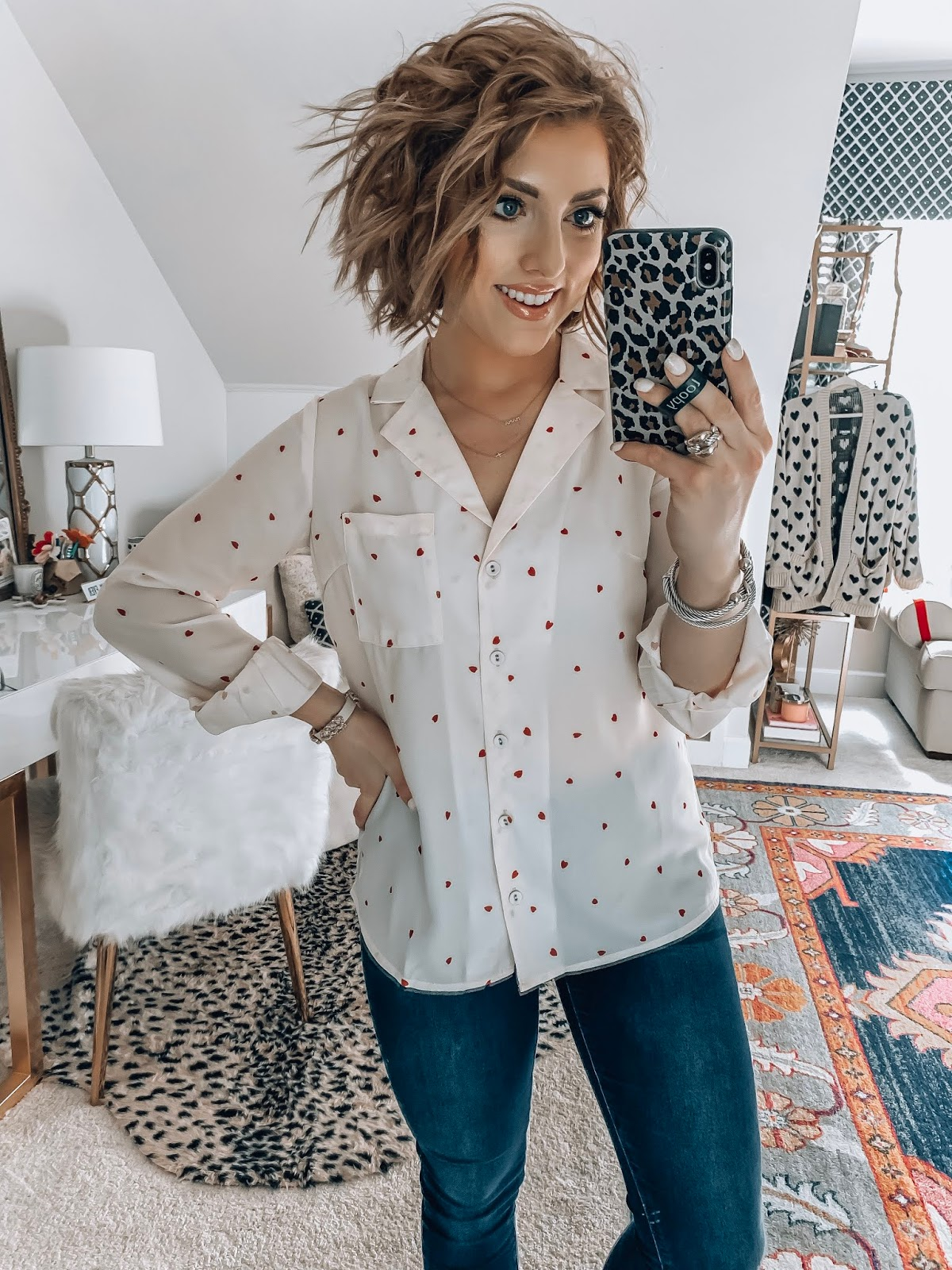 Recent Amazon Finds - Under $30 Heart Print Blouse for Valentine's Day - Something Delightful Blog #AmazonFashion #RecentFinds #Hearts #ValentinesDay #AffordableFashion