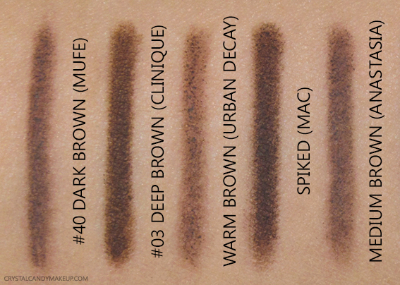 MUFE Pro Sculpting Brow Pen 40 Swatches Clinique Urban Decay Warm MAC Spiked Anastasia Medium Brown