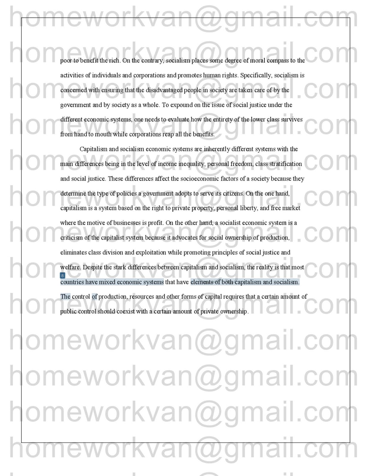 College Vs High School Essay The Following Is Plagiarism Report For Compare And Contrast Essay A  Comparison Of Capitalism And Socialism Economic Systems Essay  By  Homeworkvan Essay About Business also Essay Papers Online Homeworkvan Official Blog Compare And Contrast Essay A Comparison  High School Essays Examples
