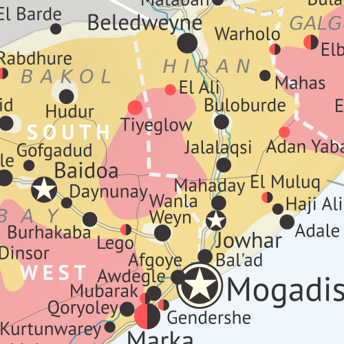 Who controls Somalia? Map (October 2020). With states, regions, and territorial control. Best Somalia control map online, thoroughly researched, detailed but concise. Shows territorial control by Federal Government of Somalia (FGS), Al Shabaab, so-called Islamic State (ISIS/ISIL), separatist Somaliland, autonomous state Puntland, and boundaries of additional federal member states Galmudug, Jubaland, South West, and Hirshabelle. Now labels state capitals and disputed boundaries between Somaliland and Puntland, as well as key towns from the news such as Kurtunwarey, Gendershe, Daynunay, Mubarak, Bulacle, and more. Updated to October 20, 2020. Colorblind accessible.