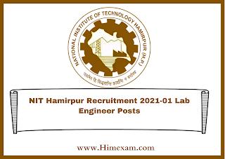 NIT Hamirpur Recruitment 2021-01 Lab Engineer Posts
