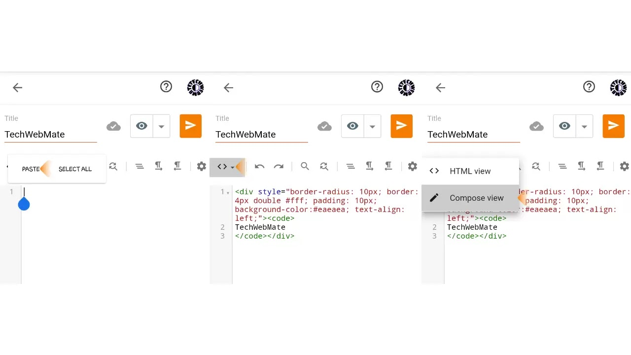Then paste the script box code here. Click on HTML view and select Compose view.