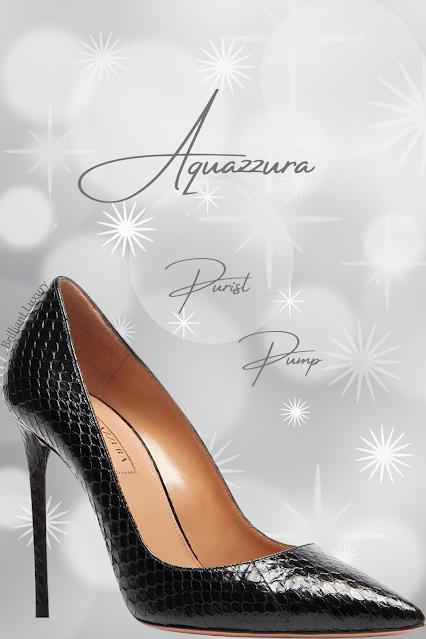 Aquazzura Purist black elaphe leather pointed toe stiletto pump #brilliantluxury