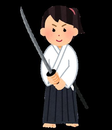 日本刀を構える女性のイラスト(道着)