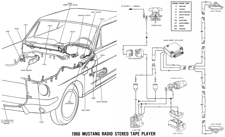 Free Auto Wiring Diagram: 1966 Mustang Radio Stereo Wiring