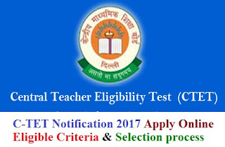 CTET Notification 2017 Eligibility & Apply Online