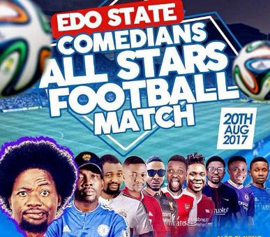 Edo state comedians all stars football match: Featuring Maleke, Eboh Bomb, MC Allamano, Pikolo, more