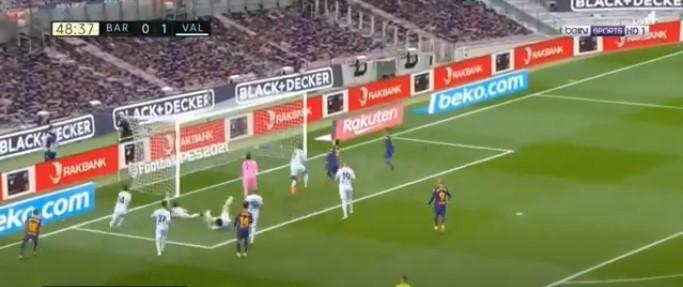 الهدف الاول لبرشلونة اليوم ضد فالنسيا