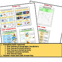 Five Themes of Geography Digital Escape Room Five Themes of Geography Vocabulary Five Themes Pictures Activity Five Themes in Detail Activity Absolute Location Activity Five Themes Chart