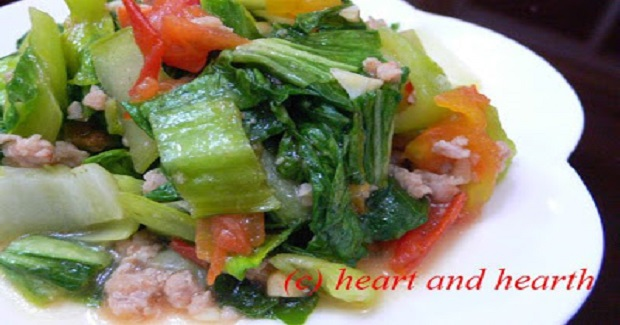 Stir Fried Bok Choy (Pechay) With Pork And Tomatoes Recipe