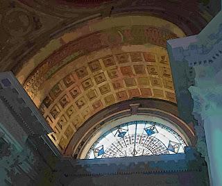 Detalhe de Um Vitral e do Teto do Pantéon de lo Héroes, em Asunsion