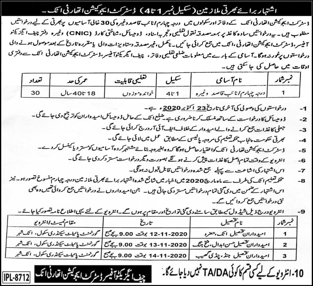 District Education Authority DEA Job Advertisement For Sanitary Worker in Pakistan 2021