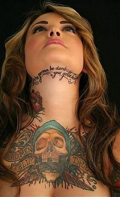 unique neck tattoo for girl