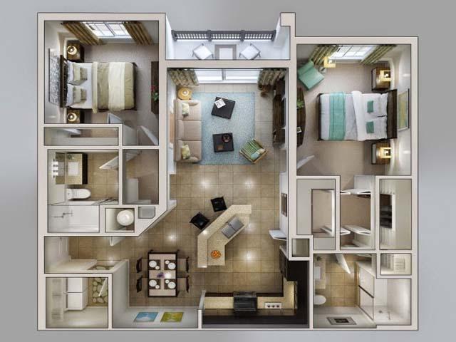 Denah rumah minimalis apartemen 2 kamar tidur design for Design apartemen 2 kamar