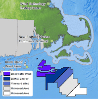 New Bedford is located near the offshore areas leased for wind production in Massachusetts. (Credit: Bureau of Ocean Energy Management) Click to Enlarge.