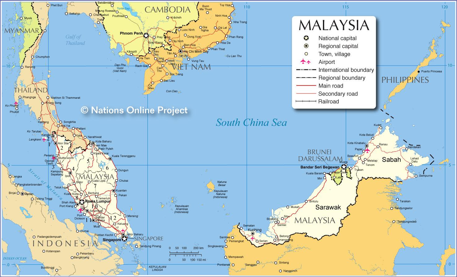Malásia | Mapas Geográficos da Malásia