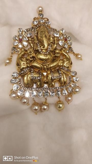 Flat Diamond Ganesh Pendant