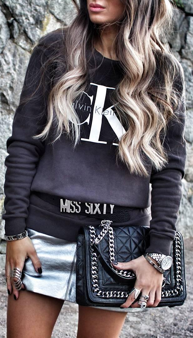 ootd: top + bag + metalic skirt