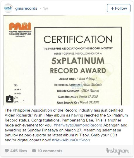 """Alden Richards' """"Wish I May"""" album is halfway to receiving a Diamond Record Award."""