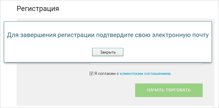 Подтверждение регистрации в Бинариум