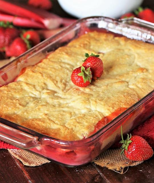 Baked Strawberry Rhubarb Cobbler Image
