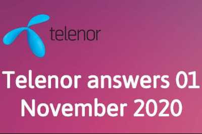 Telenor Quiz 1 November 2020 || Telenor answers 1 November 2020