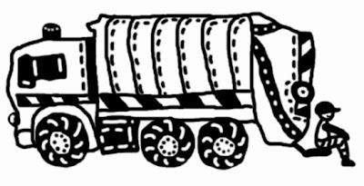 Fekete-fehér digitális rajz egy kukásautóról és hátul az autón ülő vigyori kukásról, ahogy megáll öt percre pihenni a szemetes kukák ürítése között.
