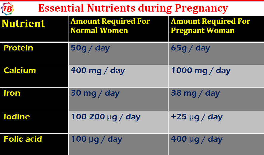 Essential Nutrients during Pregnancy