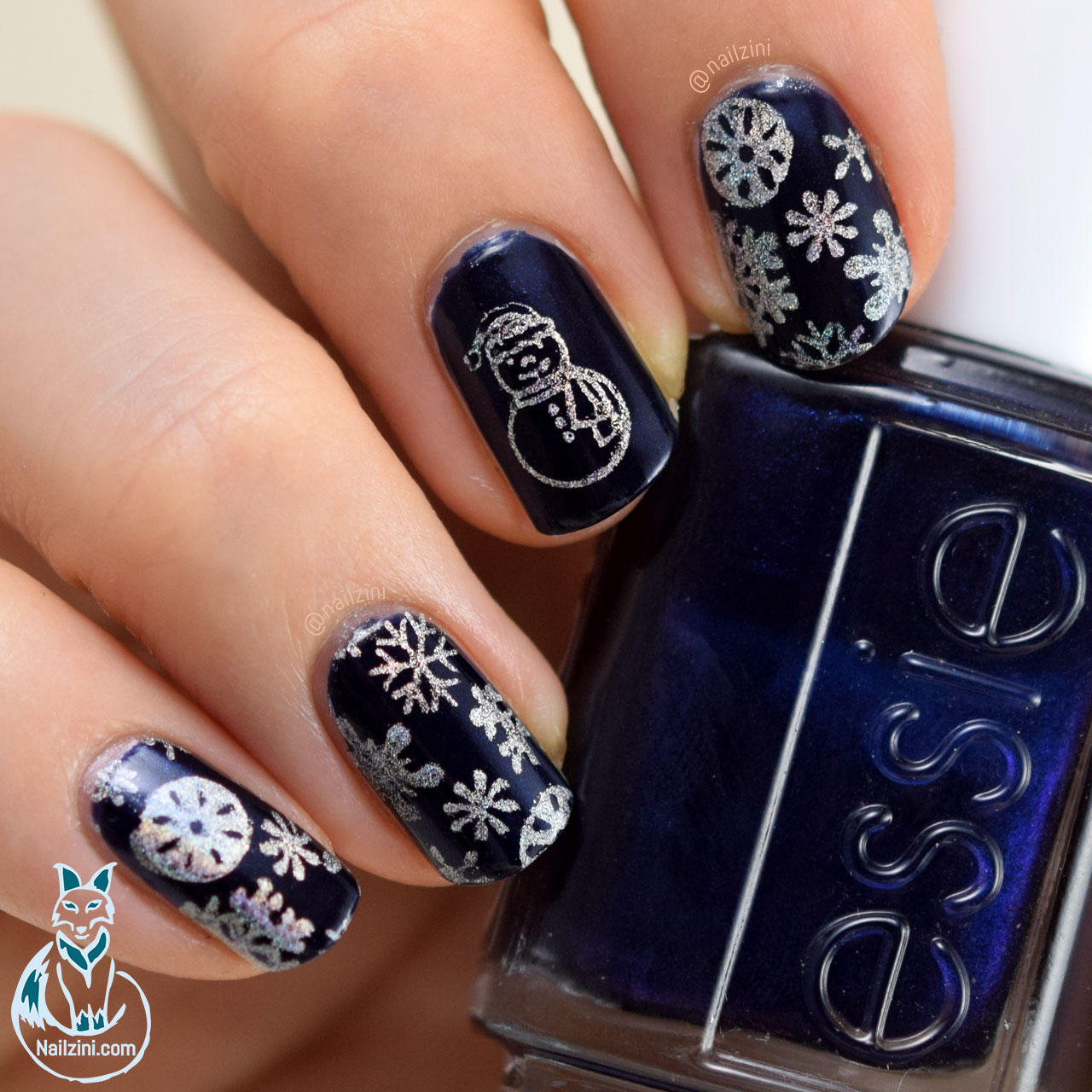 Holo Snowflake and Snowman Nail Art -- Born Pretty Review ...