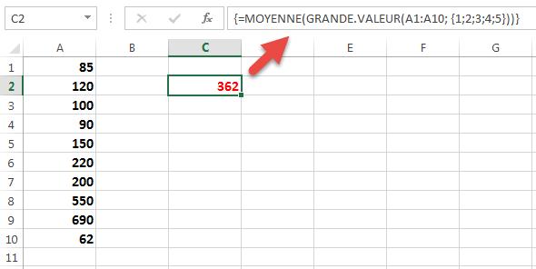 Moyenne des cinq valeursles plus grandes
