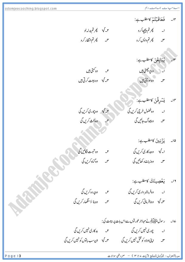 surah-al-mumtahanah-ayat-07-to-13-mcqs-islamiat-10th