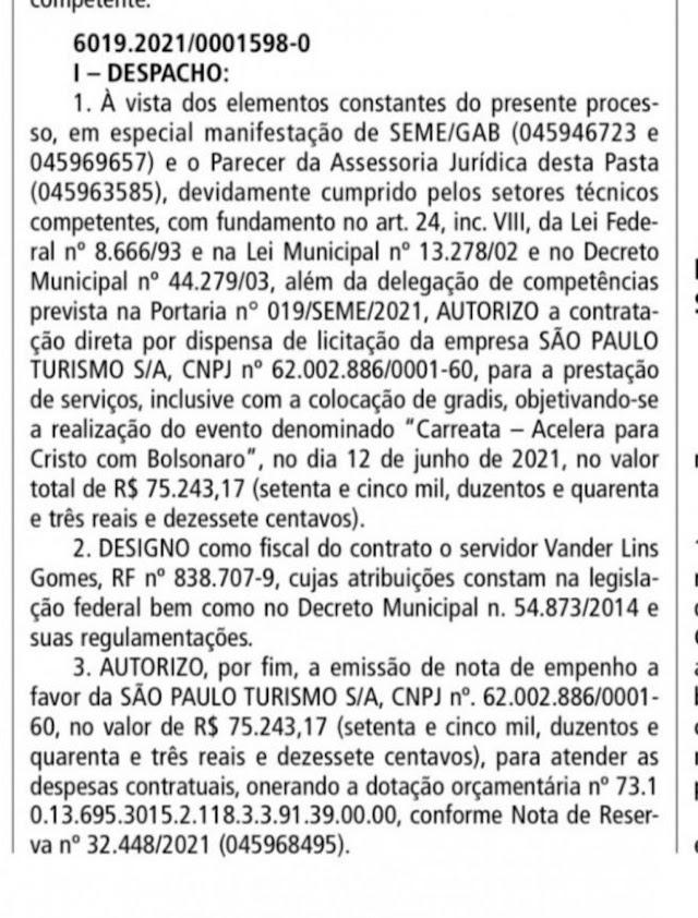 Motociata de Bolsonaro contou com apoio de R$ 75 mil da prefeitura de SP para realização