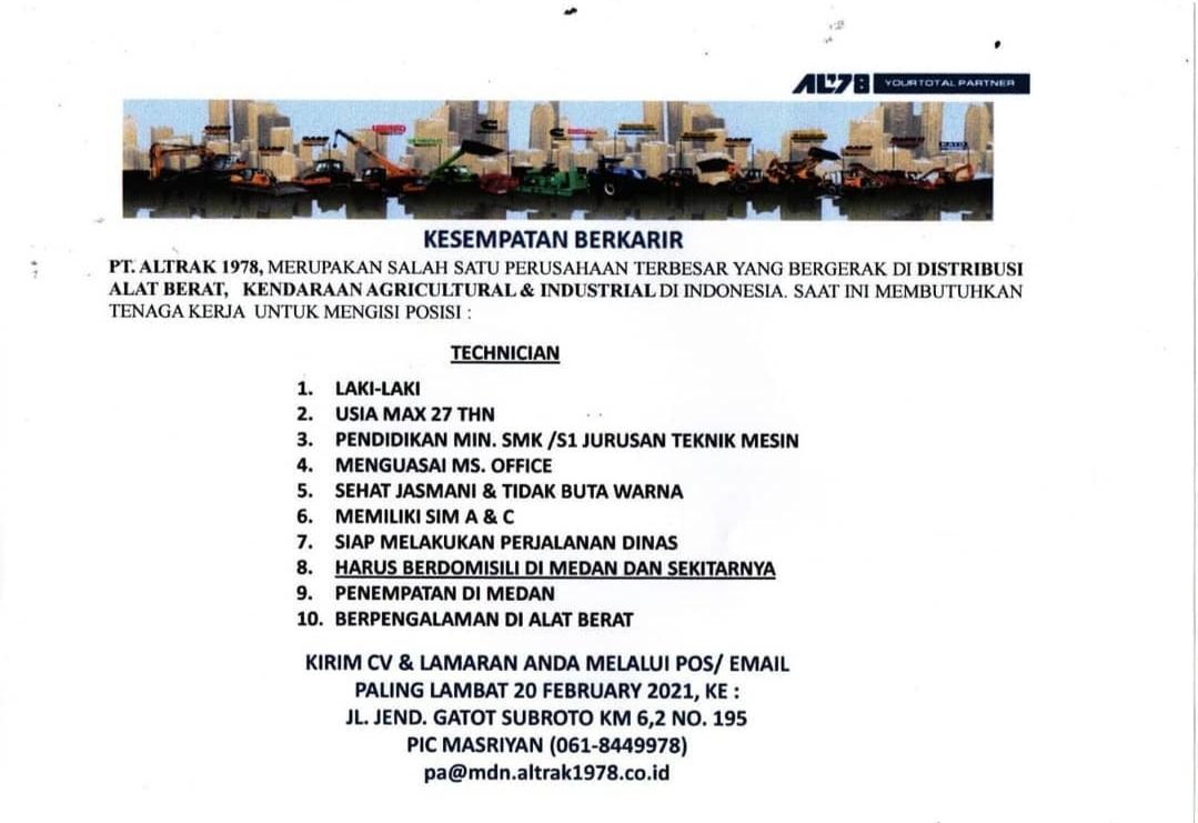 Lowongan Kerja Smk S1 Terbaru Januari 2021 Di Pt Altrak 1978 Medan Lowongan Kerja Medan Terbaru Tahun 2021