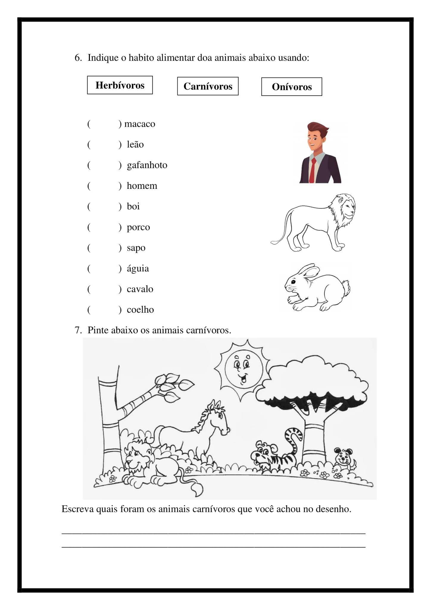 Atividade Ciências 2º Ano: Alimentação dos animais