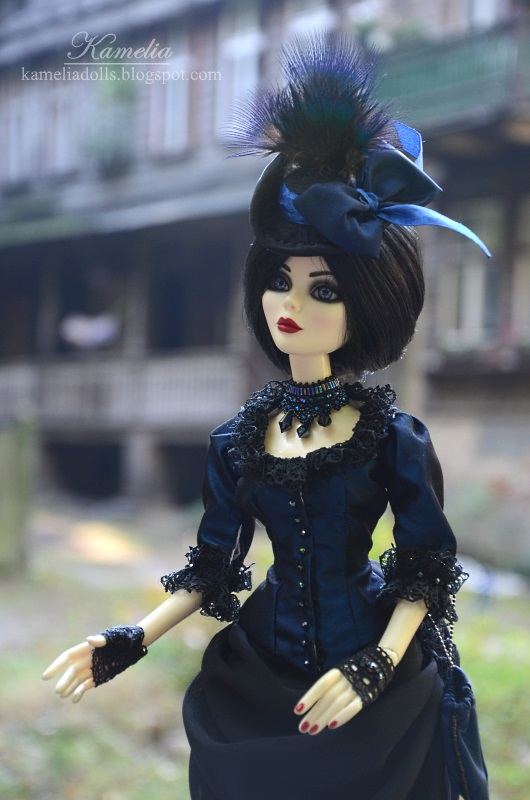 Navy blue and black victorian dress for Wilde Imagination doll